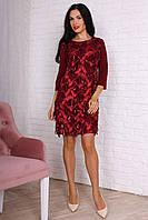 Шикарное женское платье с пайетиками бордовое