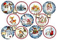 Печать вафельной (рисовой) или сахарной картинки на рождество или новый год на капкейки, пряники