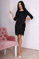 Черное женское платье крашено пайетиками