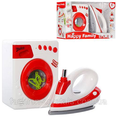 Набор стиральная машина и утюг Happy family