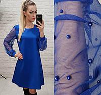 Платье с жемчугом арт. 144 свободного кроя ярко синий электрик