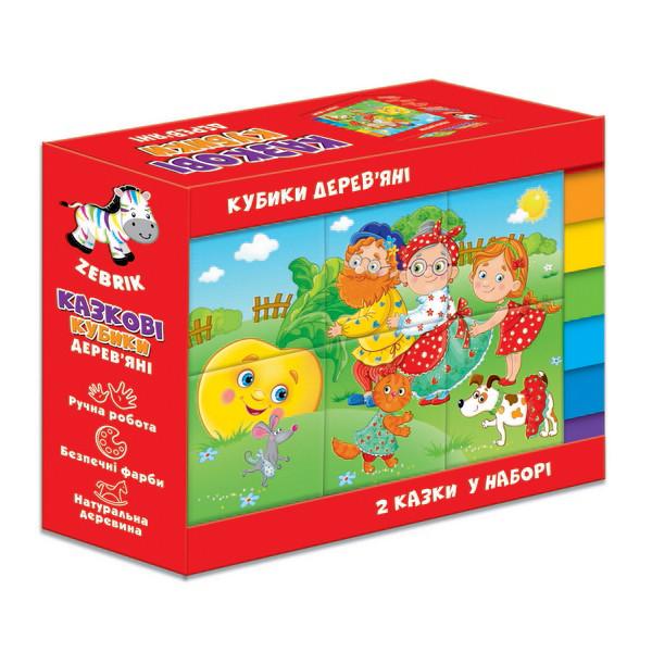 Дерев'яні кубики «Ріпка. Теремок», Vladi Toys