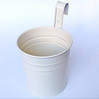 Ведро декоративное навесное (белое), фото 1