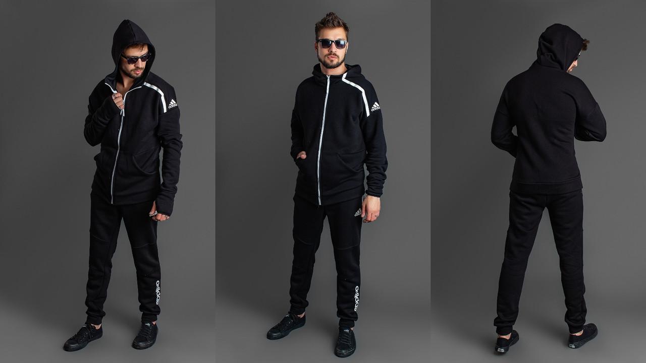 Зимний мужской спортивный костюм: длинная кофта с капюшоном и штаны с манжетами, реплика Adidas