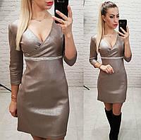 Замшевое платье, арт 145,ткань замш с напылением, цвет капучино, фото 1