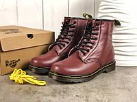 Женские Зимние Ботинки Dr. Martens Originals 1460 Коричневые (Реплика Люкс) 386879c047900