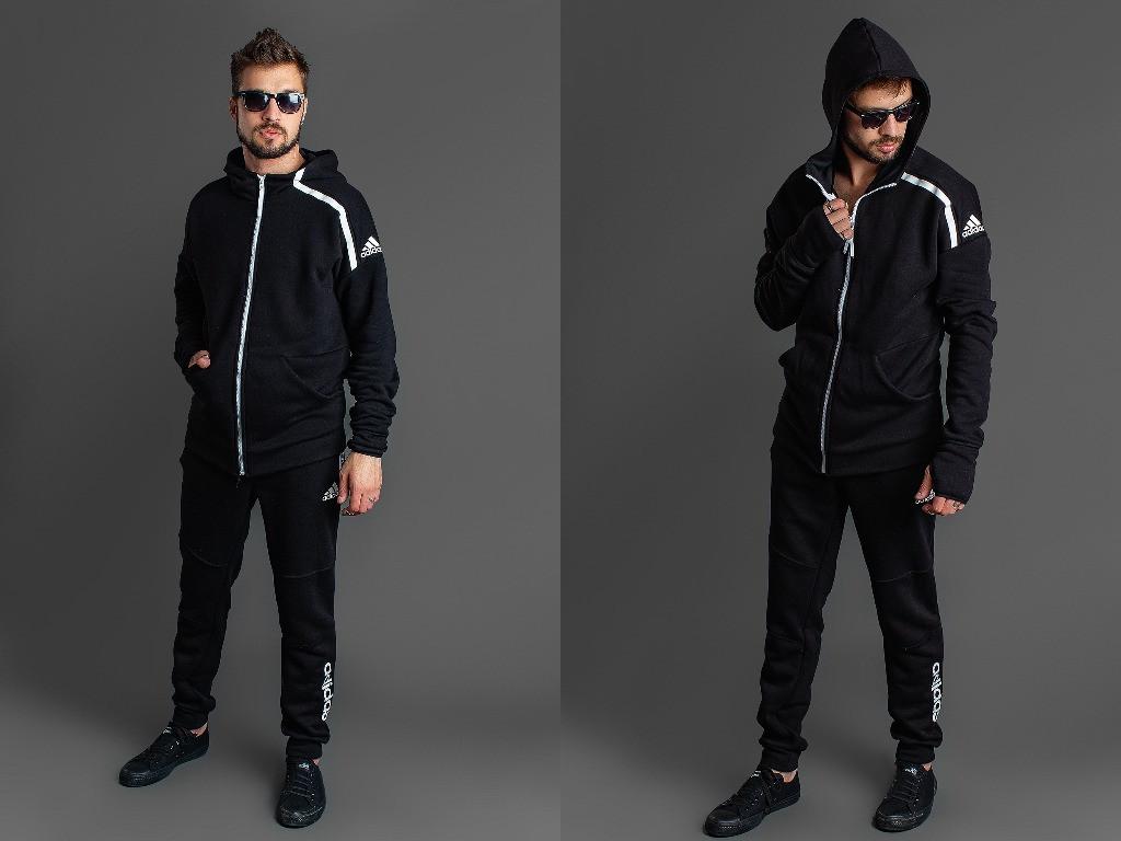 Зимний мужской спортивный костюм: длинная кофта с капюшоном и штаны, реплика Adidas, большие размеры батал
