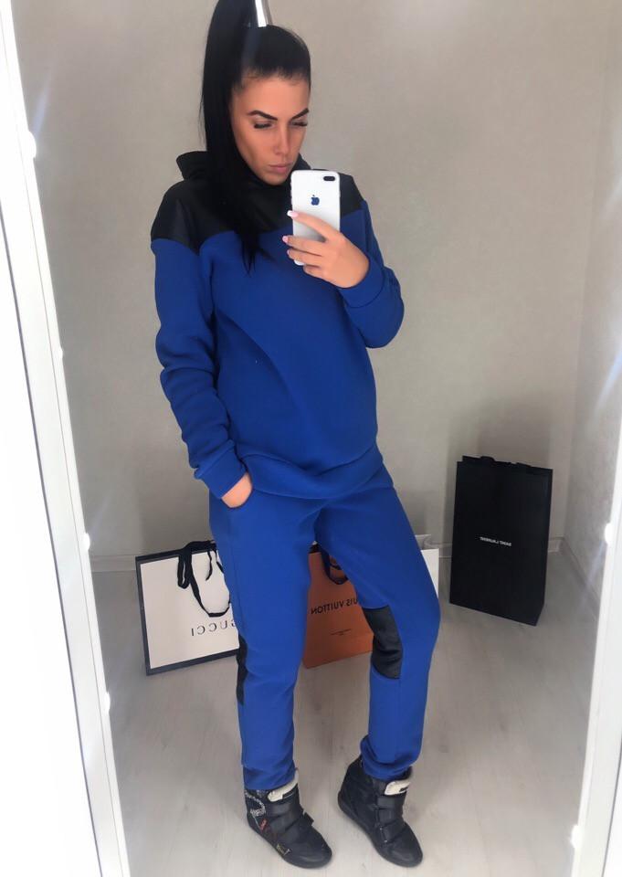Женский спортивный костюм теплый со вставками плащевки: кофта батник с капюшоном и штаны
