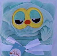 Уголок плед детский конверт для детей с капюшоном Совушка 76*102