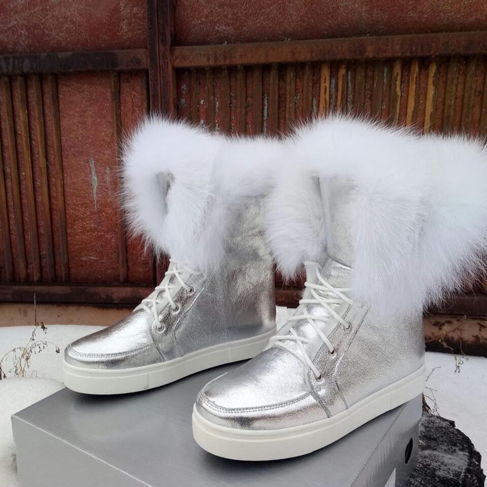 6450d6e2f Зимние пушистые ботинки серебро с натуральным мехом ПЕСЕЦ натуральная кожа