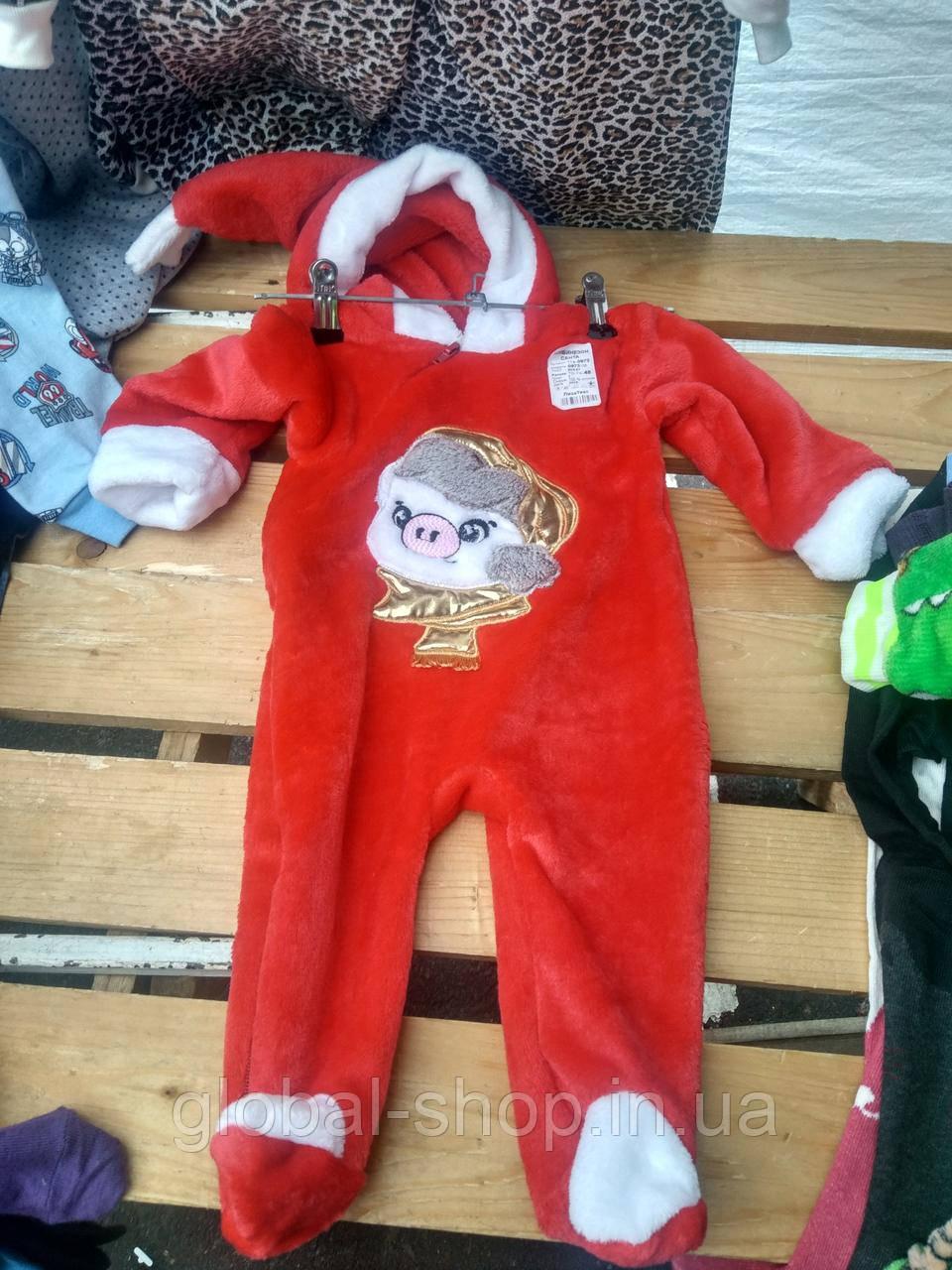 Новогодний костюм человечек в виде Санты(Санта Клауса) тепленький,махровый,3 размера ,56-60;62-68;70-74