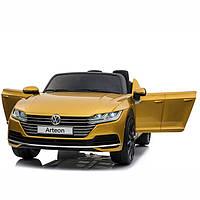Двухместный детский электромобиль M 3993 EBLRS-6 Volkswagen Arteon, Автопокраска, кожа, золотой, Автопокраска