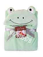 Уголок плед детский конверт для детей с капюшоном Лягушка 76*102