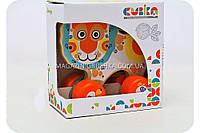 Детская деревянная каталка Левчик Cubika (Кубика) 12008. Деревянные эко игрушки, фото 1