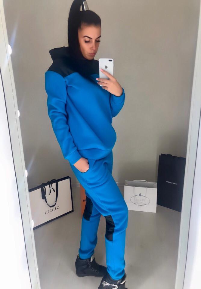 Женский спортивный костюм теплый, вставки плащевки: кофта батник с капюшоном и штаны, батал большие размеры