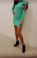 Платье стильное разрезы на рукавах декорировано пуговками мятного цвета 46р.