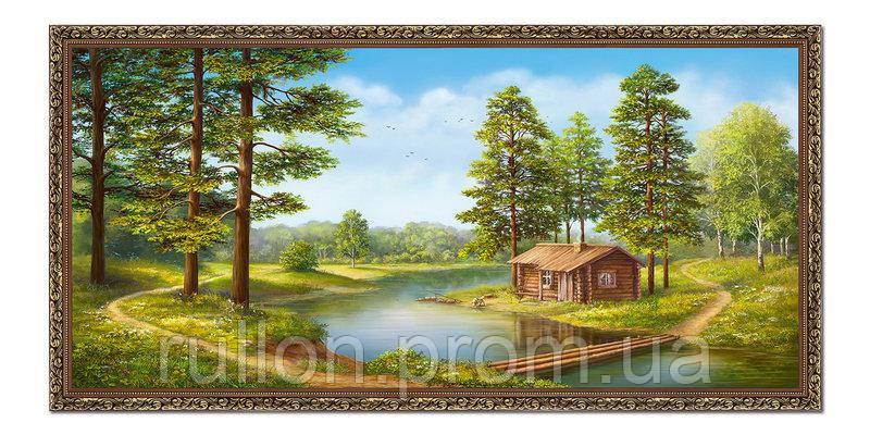 "Картина YS-Art FA581B ""Домик у воды и переправа"" 50x100"