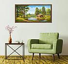 "Картина YS-Art FA581B ""Домик у воды и переправа"" 50x100     , фото 3"