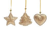 Набор (3шт) новогодних украшений-подвесок 9см, цвет - золото, 12 наборов
