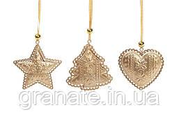 Новогодние украшение, елочная подвеска 9см, цвет - золото 12шт