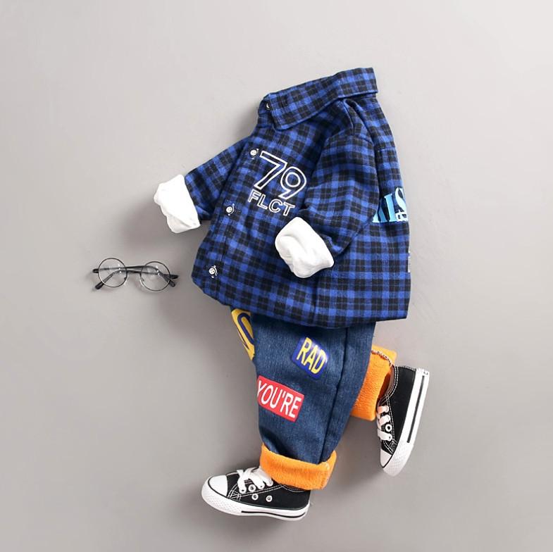 Костюм двійка на хлопчика з сорочкою утеплений на плюше синій 1 рік