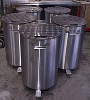 Контейнер  бак 100л. для мусора из нержавеющей стали, держатели мусорных пакетов