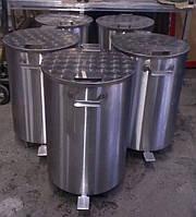 Контейнер  бак 100л. для мусора из нержавеющей стали, держатели мусорных пакетов, фото 1
