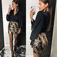 Женская красивая мини-юбка из пайетки, фото 1