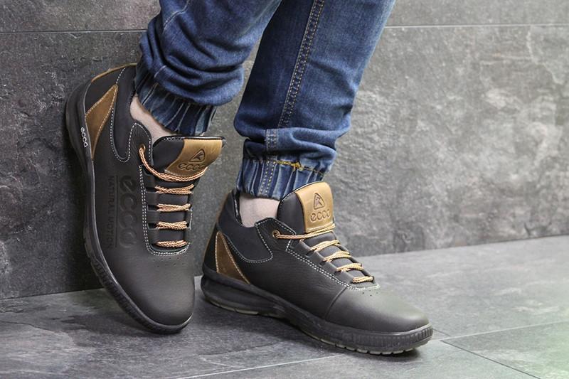 e1883241 Кроссовки мужские экко зимние кожаные черные коричневые с мехом (реплика) Ecco  Black Brown Leather