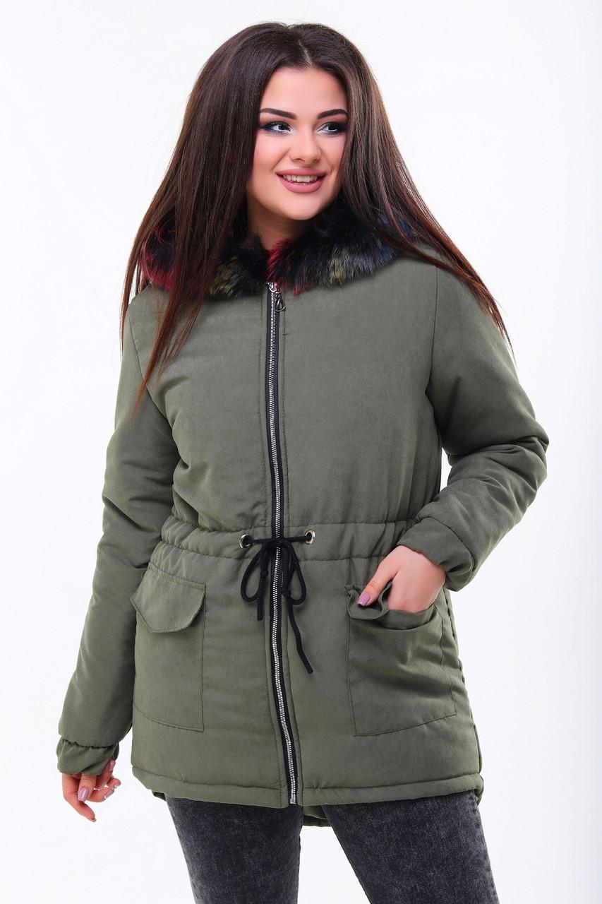 Удобная осенне-зимняя куртка парка женская с шнурком по талии, слегка удлиненная сзади, норма и батал