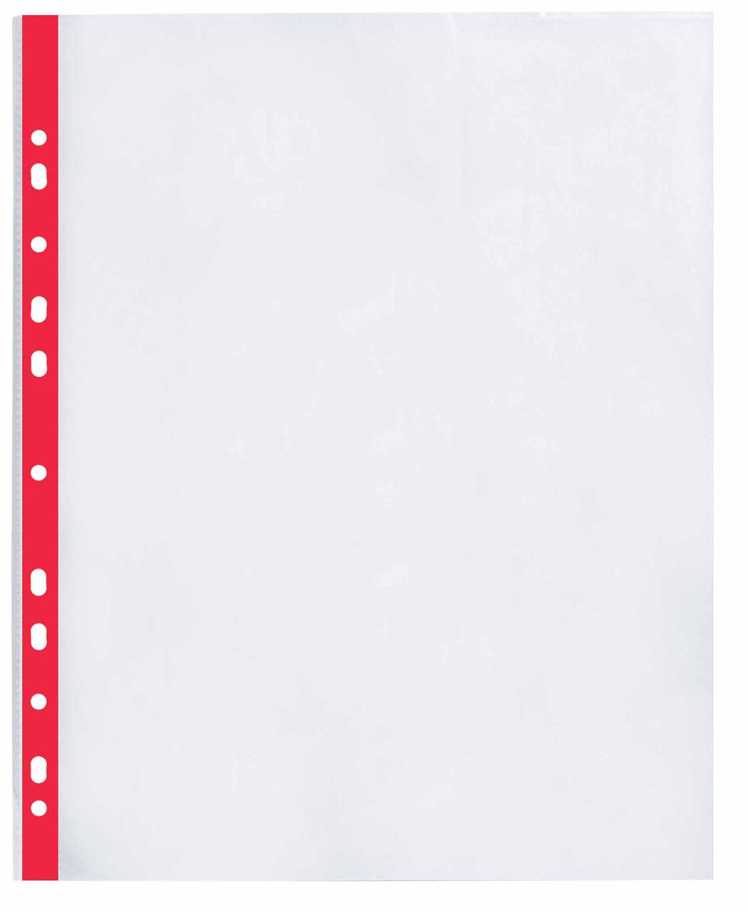 """Файл для документів А4 + Optima, 40 мкм, фактура """"глянець"""", з червоною стрічкою (20 шт / уп)"""