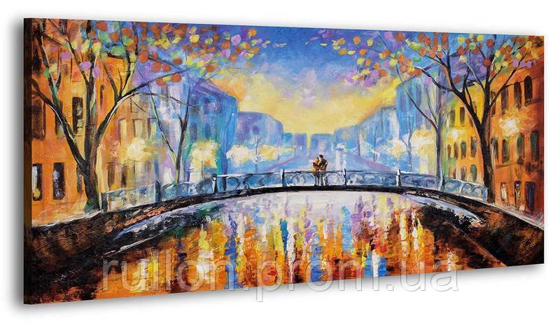 """Картина на холсте YS-Art RRH152 """"Мост с влюблённой парочкой"""" 50x100"""