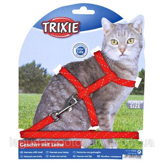 Шлейка с поводком для кота со светоотражателем