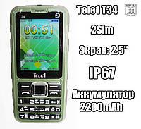 TELE1 T34 IP67 бюджетный защищенный противоударный громкий телефон бабушкофон дешево!, фото 1