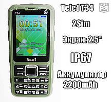 TELE1 T34 IP67 бюджетный защищенный противоударный громкий телефон бабушкофон дешево!
