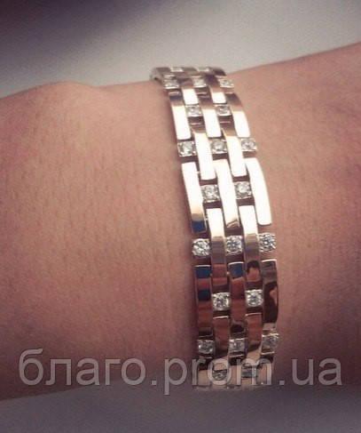 """Браслет """"Элизабет"""" серебряный с золотыми накладками длина 17 см. 9 зв (19 см.)"""