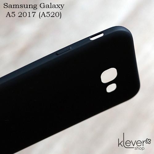Ультратонкий силиконовый чехол накладка Candy для Samsung Galaxy A5 2017 (a520f) (черный)