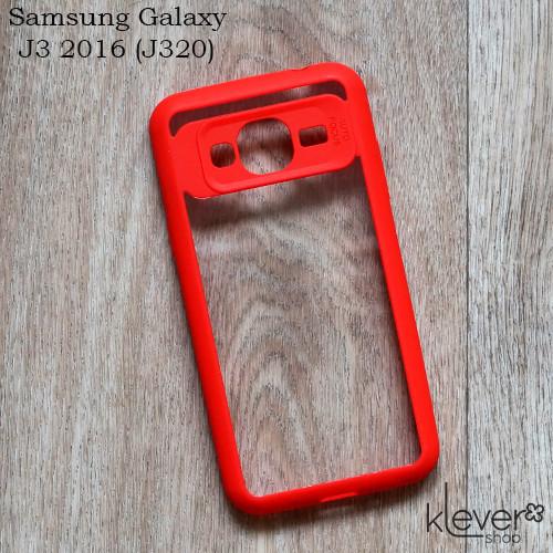 Силиконовый  чехол накладка AutoFocus для Samsung Galaxy J3 2016 (j320) (красный)