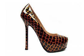 Женские туфли Yves Saint Laurent 06 размер 35 Черные с золотым, КОД: 228809
