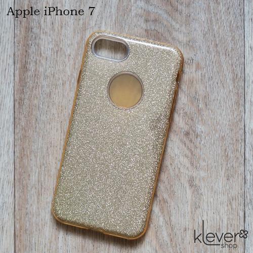 Силиконовый чехол накладка Elysian rain для Apple iPhone 7 (золотой с блестками)