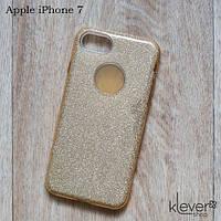 Силиконовый чехол накладка Elysian rain для Apple iPhone 7 (золотой с блестками), фото 1