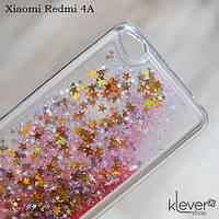 Чехол аквариум с блестками для Xiaomi Redmi 4A (звезды и розовые блестки)