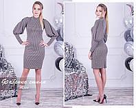 b7313e0099e093c Стильное коричневое трикотажное женское платье в мелкую клетку. Арт -  7626/18