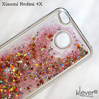 Чехол аквариум с блестками для  Xiaomi Redmi 4X (розовые блестки)