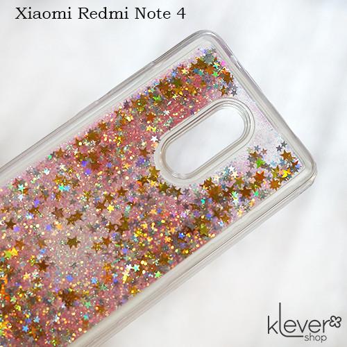 TPU чехол аквариум Aquarium stars для Xiaomi Redmi Note 4  (звездочки с розовыми блестками)