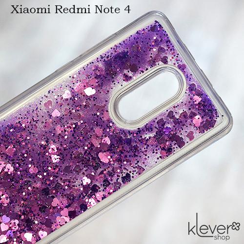 TPU чехол аквариум Aquarium hearts для Xiaomi Redmi Note 4 (фиолетовые сердечки и блестки)