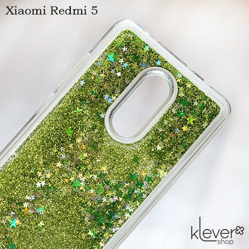 TPU чехол накладка Aquarium stars для Xiaomi Redmi 5 (зеленые блестки)
