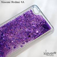 Чехол аквариум с блестками для Xiaomi Redmi 4A (фиолетовые сердечки и блестки)