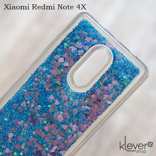 Чехол аквариум с блестками для Xiaomi Redmi Note 4X, Note 4 Global (синие блестки)