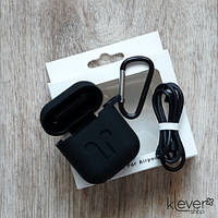 Силиконовый чехол для Apple AirPods (чехол+карабин+шнурок) (черный)
